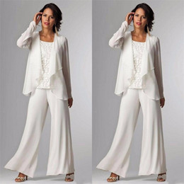 elegant suits for mother bride Coupons - 2019 Elegant Evening Mother of The Bride Dresses Ankle Length Long Sleeve Jackets Lace Pant Suits for Women Mother Groom Plus Size Gowns
