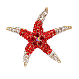 Canada Livraison gratuite en gros strass cristal étoile de mer broche pour les femmes habillent bijoux rouge / bleu / vert broches étoiles de cristal cheap wholesale star brooches Offre