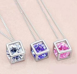 Wholesale Silver Diamond Necklaces For Women - Fashion 925 Sterling Silver Box Chain Austria CZ Diamond Crystal Love Magic Cube Square Shape Pendant Necklace For Women Wedding Gift
