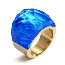 Wholesale Large Crystal Silver Rings - Gold Plated Stainless Steel Wedding Rings Fashion Jewelry For Women With Big Large Stone RC-079