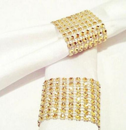 Wholesale Wedding Serviette Rings - Rhinestone Mesh Wrap Napkin Ring Holder Table Serviette Holder Buckle Strap Chair Sash Wedding Party Christmas DIY Decoration
