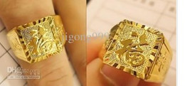 """Wholesale Carved Diamond Ring - classic yellow gold filled carved"""" bless"""" word men's ring"""
