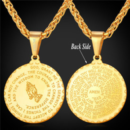 2019 rezar collar Manos de oración collar colgante Hermano Regalo 18K chapado en oro de acero inoxidable medalla del verso de la Biblia joyería de los hombres rezar collar baratos