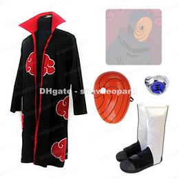 Wholesale Naruto Cosplay Costume Akatsuki - Naruto Akatsuki Tobi Uchiha Obito Madara Cosplay Costume Cloak Mask Ring Shoes