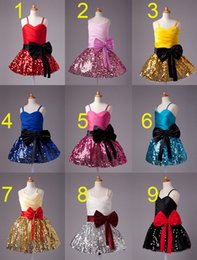 Wholesale Girls Sugar Dress - Sweet Sugar Color Sequin Straps Short Knee Girl's Pageant Dresses Flower Girl Dresses Princess Party Dresses Custom Made 2-14 F602131