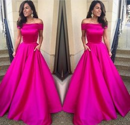 Wholesale Short Pink Night Dresses - 2017 Off Shoulder Fuchsia Prom Dress Long A Line Night Gown New Arrival Custom Made Party Dresses Evening Wear with Pocket