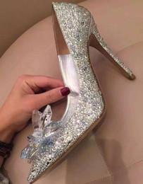 Wholesale Rhinestone Bow Shoes Girls - Womens girls Cinderella Crystal Rhinestone Stiletto Heels Party Wedding Stilettos Pumps Shoes silver Bridal Accessories big size XMAS gift