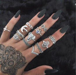 Wholesale Vintage Crystal Ring - Vintage 13pcs Boho Vintage Hand Hasme Elephant Moon Animal Silver Gold Ring Set Midi Finger Knuckle Rings