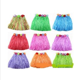 Wholesale Leather Shirts Wholesale - Popular Tassel Child Girl Princess Flower Hula Grass Skirt Fancy Costuhow me Show SkirtHula grass skirts garlands bracelet head 400pic