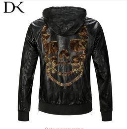 Wholesale Pu Leather Jacket Hood - 2017 autumn men leather jacket slim short design with a hood leather clothing male velvet leather skull