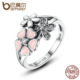 31fa8c2822c9 dhgate 925 Sterling Silver Pink Flower Poetic Daisy Cherry Blossom Finger  Ring for Women Engagement Fashion Jewelry SCR004