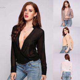 Wholesale Korean Black Long Blouse - Korean Blouses For Women Brand New Fashion Solid Plus Size Loose Shirt Style Chiffon Front Open Long Sleeve White Pink Coffee Black