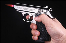 Wholesale Lighter Gas Butane Refillable - Real Full Metal Imitation Guns Windproof Metal 64 Model PPK Pistol Gun Shaped Refillable Butane Gas Flame Jet Lighters