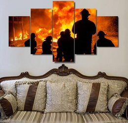 Wholesale Fire Walls - No Frame Fire Fighters Fire Extinguishing Canvas Print Painting 5 Panels Wall Art Home Decoration for Living Room