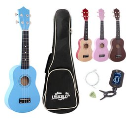 "Wholesale maple wood types - 21"" four colour Ukulele Beginners Children Christmas Gifts Hawaii Four String Guitar + Bag+Tuner+String+Pick"