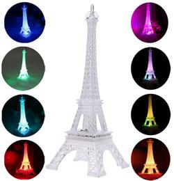 Wholesale Decoration Paris - 3D Eiffel Tower Nightlight Desk Bedroom Decoration LED Lamp Colorful Paris 13cm Fashion Style Acrylic Decoration Night Light Gift G1L