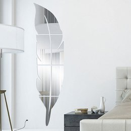 Wholesale Stick Mirror Decorations - Removable Adhesive 3D Feather Mirror Wall Living Room Bedroom Bathroom Stick Decal Home Party Decoration Art Mural Stickers H17990X