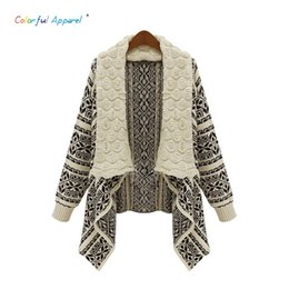 Wholesale Women Long Colorful Cardigans - Wholesale- Colorful Apparel Autumn and winter in Europe and America retro geometric pattern sweater cardigan cape coat female loose CA494