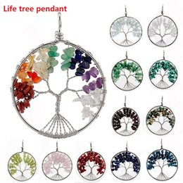Wholesale Turquoise Stone Round Pendant - Mix color Round Natural Crystal Pendant Living Tree Of Life Turquoise Opal Pink 7 Style Natural Charms Gem Stone Pendant Jewelry M616