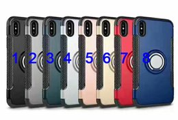 Wholesale New Products For Iphone - New product For iPhone8 Hybrid TPU&PC 2 in 1 Armor case with 360 degree ring stand holder magnetic back cover For iphone8
