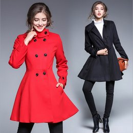 Wholesale Woman Long Red Skirt Coat - 2017 New Winter Coats Woman Double Breasted Thick Coat For Women Red Black Blue Solid European Trendy Women Clothes