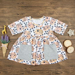 Wholesale Girl Hedgehog - Little Girls Hedgehog Print Dresses with Pockets 2018 Summer Kids Boutique Clothing Euro America INS Girls Short Sleeves Cartoon Dresses