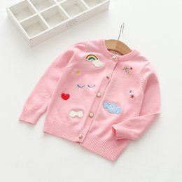 Wholesale Heart Sweater Cardigan - Everweekend Girls Star Heart Rainbow Embroidered Cardigan Lovely Kids Pearl Button Sweater Cute Baby Candy Color Autumn Clothing