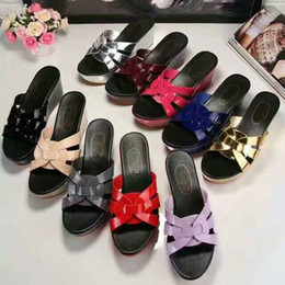 Wholesale Ladies Platform Slippers - Yuf16 Fancy Summer Slide Scuffs Loafers Style Shiny Genuine Leather Wedge Platform Slippers Sandals Ladies Women Shoes Sz 34-39