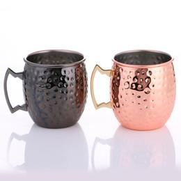 Or et noir en acier inoxydable martelé Moscou mules 16OZ élégante tasse de café cocktail plaqué de cuivre tasse de thé au lait de bière ? partir de fabricateur