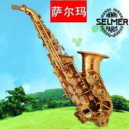 Wholesale Instruments For Children Bells - wholesale 2016 Hot selling Selme rSaxophone BB High Tone Curve Bell B Curved Soprano Sax saxofone Musical Instrument for adults Children