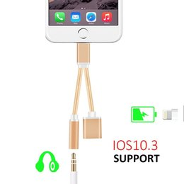 Wholesale Iphone Cable Usb Lighting - new hot iPhone 7 Plus Convertor 3.5mm USB lighting Jack Headphone Headset adaptor charger 10.32 Ios charging earphone Cable