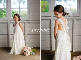 Wholesale Day Maxi Dress - Romantic V-neck Summer Boho Flower Girls Dresses Floor Length Vintage Maxi Ivory Lace Baby Communion Dresses Suitable for Beach Wedding 2017