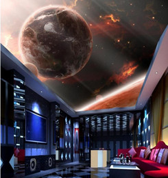 Wholesale Customized Wedding Paintings - Customized Any Size Ceiling Photo Door Wallpaper Painting Star Planet Living Room Bedroom 3D Ceiling Murals Wallpaper
