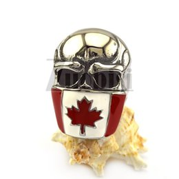 Wholesale Flag Rings - Biker Jewelry 316L Stainless Steel Emblem of Canada Flag Maple Leaf Mask Skull Ring Popular and Fashion Durable