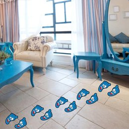 Wholesale Face Art Designs - Funy Cartoon Smiling Face Feet Pattern Floor Stickers Waterproof Home Decorations Baby Children Room Home Removable Art Wall Decals