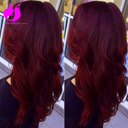 Wholesale Human Red Lace Wig - Amethyst #99J Red Brazzilian Virgin Hair Body Wave Full Lace Human Hair Wigs Natural Hairline Lace Front Wigs