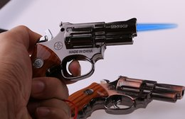 Wholesale Personalized Ornaments - Revolver Lighter 1: 1 Metal Revolver +Leather Type Gun Inflatable Windproof Lighter Furniture Ornaments Personalized Ornaments