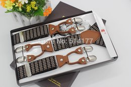 Wholesale Recessionista Clothing - Wholesale- New Fashion vintage strong braces leather suspenders Adjustable 6 clip Men's suspenders clothing recessionista