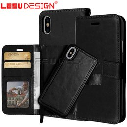 Wholesale Galaxy Pocket Covers - Removable Wallet Case for galaxy note 8 2 in 1 maganetic leather case Detachable 3 Card Slots Pockets cover for iphone x 8 7 6 plus s8 plus