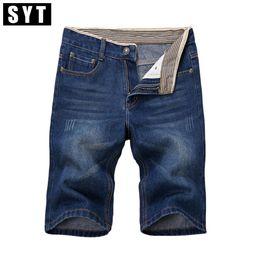 Wholesale Silver Jeans Wholesaler - Wholesale- SYT New Arrivals Mens Jeans Classic Casual Knee Length Slim Regular Fit Elasticity Cotton High Stretch Denim Shorts V7S1S019