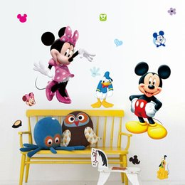 Wholesale Minnie Wallpaper - Free shipping Mickey Mouse Minnie Vinyl Mural Wall Stickers Decals Kids Nursery Room Decor Removable cartoon wallpaper