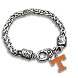 Wholesale Rhodium Plated Alloy Jewellery - New College Logo Charm University of Volunteers bracelet sports teams Bracelet Jewellery for men or women