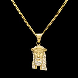 Wholesale 24k White Gold Men Chains - Fashion Jewelry 24k Gold Charm Hip Hop JESUS Christ Piece Head Face Pendant Necklace For Men And Women Drop Shipping