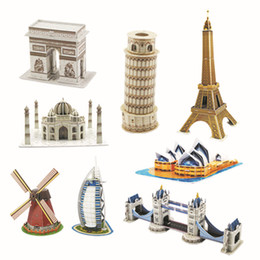 Wholesale Building Arches - Eight optional stereo puzzles, Triumphal Arch, iron tower, windmill, opera house, twin bridge, BurjAl-Arab Hotel, Taj Mahal pizza