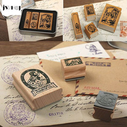 Wholesale Retro Photo Boxes - Wholesale- JWHCJ 4pcs set Alice&Doris Retro tin box stamp gift Crafts Handmade decal scrapbooking students Stamps Arts Photo Album