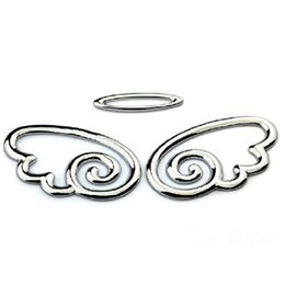 Wholesale Car Wing Doors - 3D Chrome Angel Wings Totem Emblem Car Truck Motor Auto Decal Badge Sticker Silver Golden Free shipping 10 Pair Lot