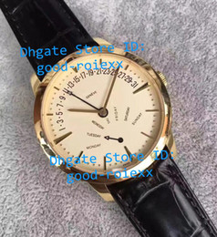 Wholesale Factory Leather Band - Top Luxury KS Factory Mens Automatic Miyota Cal.2460R31 R7 Watch Men Day Time Patrimony Rose Gold Watches Calf Leather Band Wristwatches