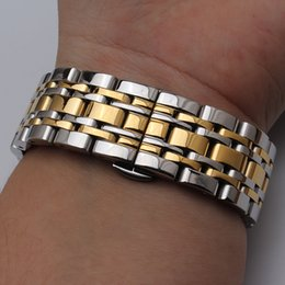 Wholesale Silver Bracelet Multicolor - New High Quality Watch Band Womens Men 14mm 16mm 18mm 20mm 22mm Buckle Silver gold Stainless Steel Watch Band Strap Straight End Bracelet