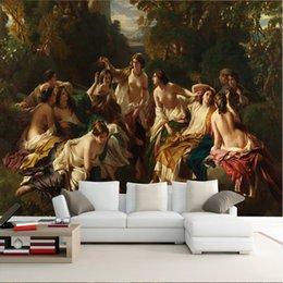 Wholesale European Classic Sofa - Custom Photo Wall Mural European Classical Oil Painting Beauty TV Wall Background for Living Room Sofa TV Background Wallpapers