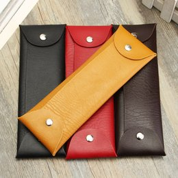 Wholesale Wholesale Pen Holder - Wholesale Retro Design Simple Leather Pen Pencil Case Bag Stationery Cosmetic Storage Organizer Bag School Student Supplies
